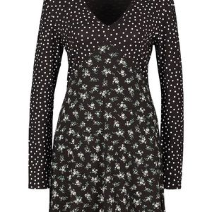 Boohoo Mix Print Ditsy Spot Floral Dress Sz 14